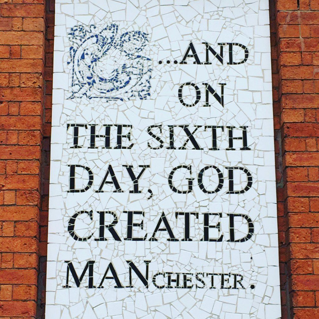 And on the sixth day god created Manchester mural.
