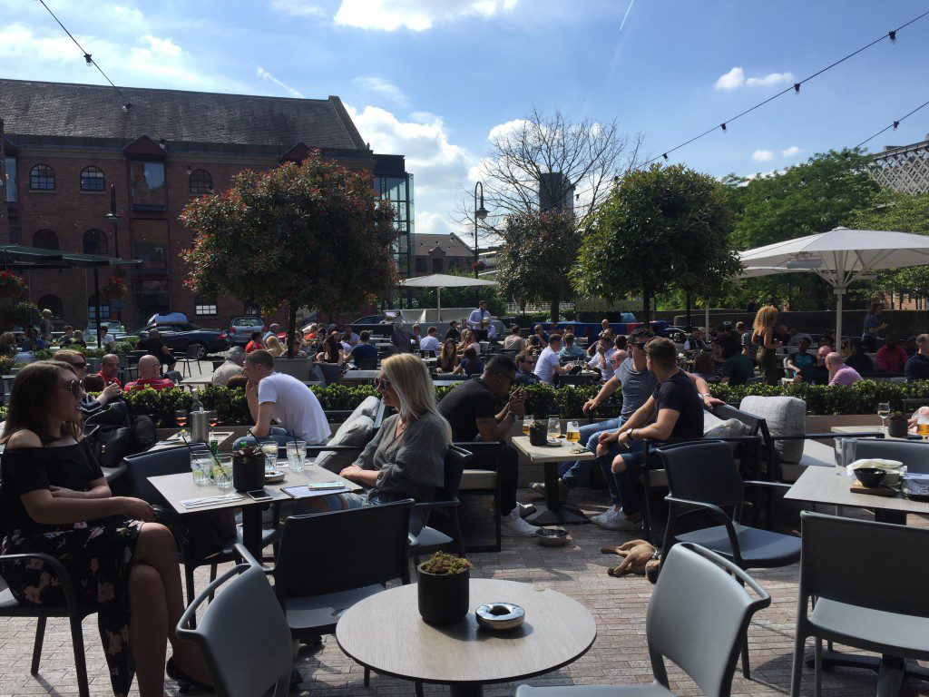 The beer garden of Dukes 92 on a sunny day