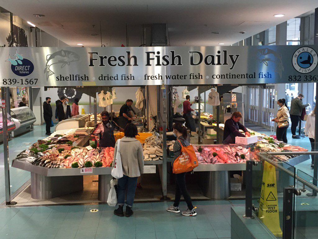 A wide shot of Whales fish market in the Arndale centre